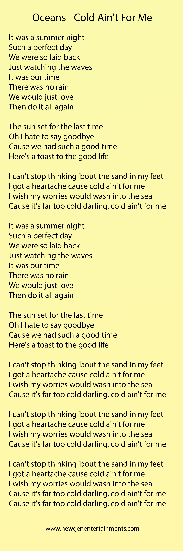 Oceans – Cold Ain't For Me | Lyrics – New Gen Entertainments