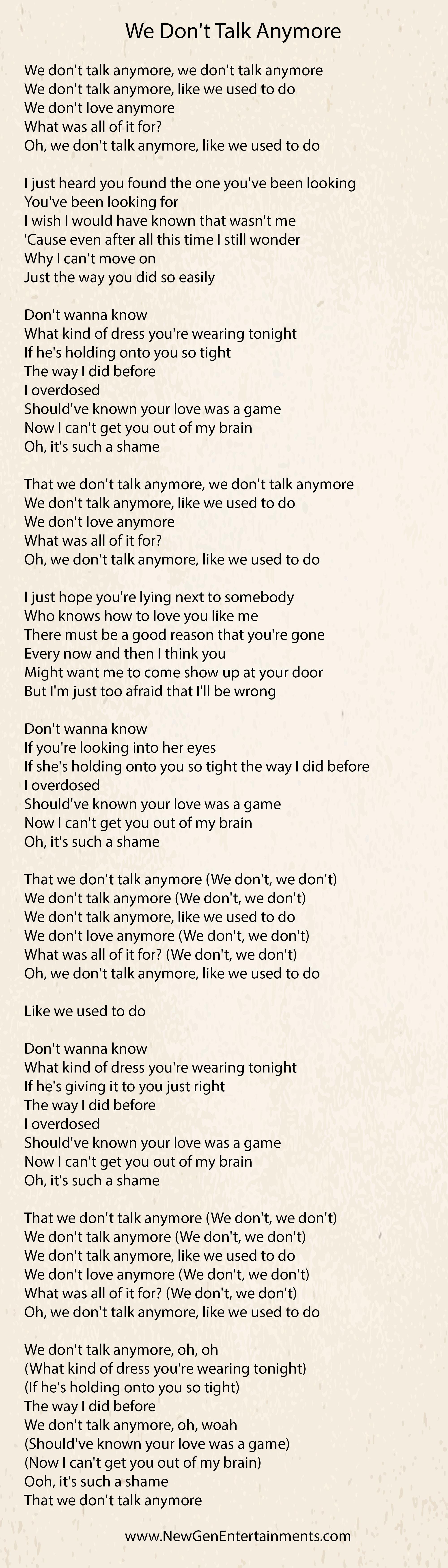 We Dont Talk Anymore | Lyrics | Charlie Puth - New Gen