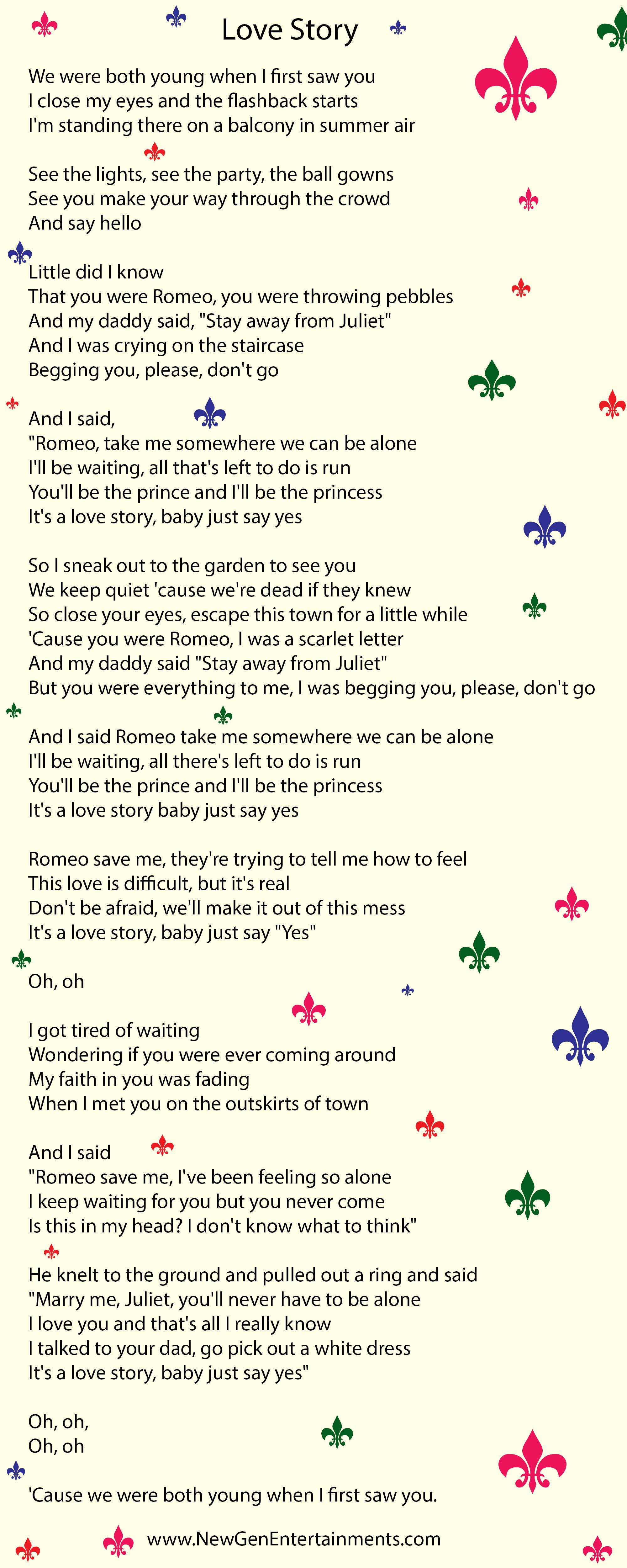 Love Story Lyrics Taylor Swift New Gen Entertainments