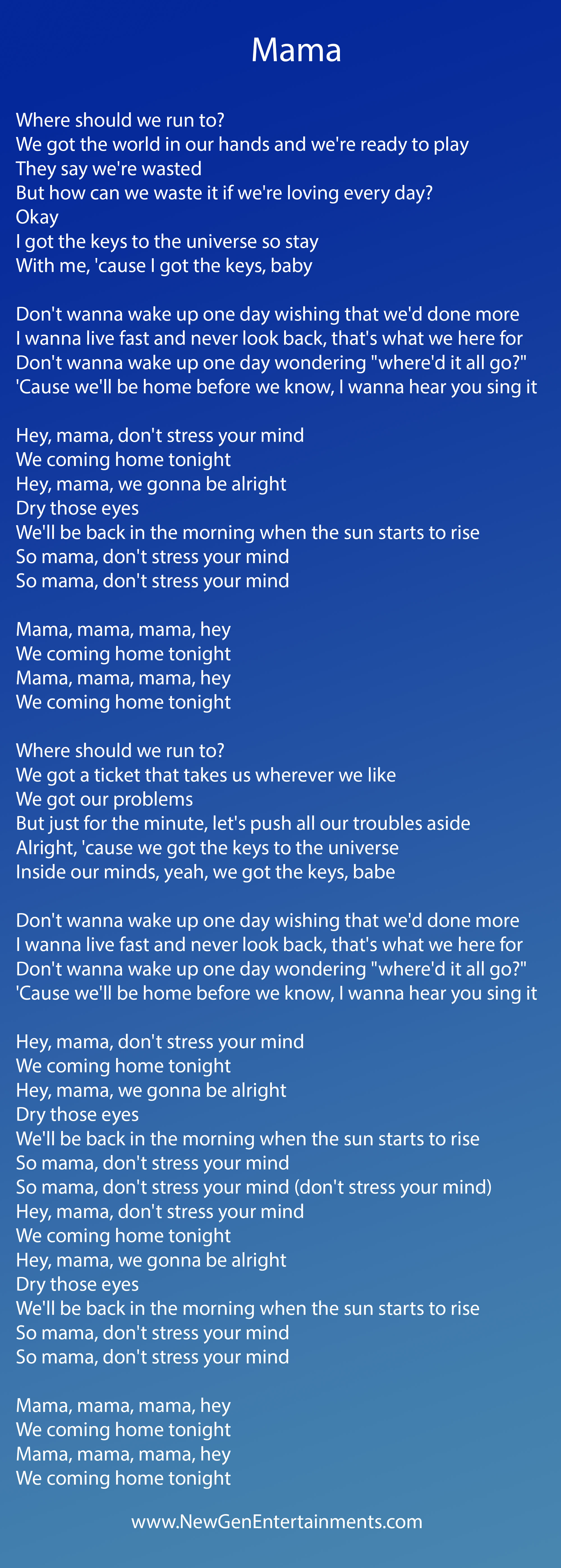 Mama | Lyrics | Jonas Blue – New Gen Entertainments